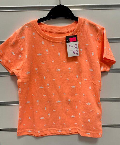 Īsroku krekls 18-24 mēn./92cm/Oranžs ar baltām haizivīm,flamingo, palmām...