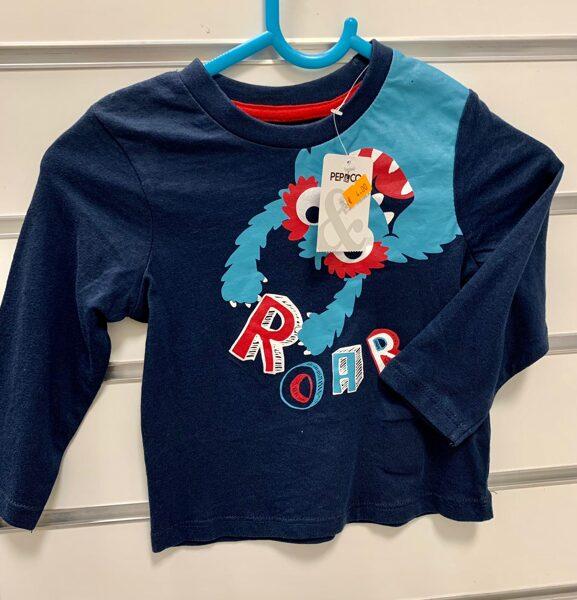 Garroku krekls 9-12 mēn./Tumši zils ar gaiši zilu mošķi/Roar