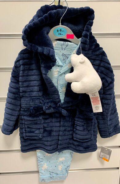 Pidžama komplektā ar halātiņu/6-9 mēn./74cm/Pidžama gaiši zila ar baltajiem lāčiem, halātiņš-tumši zils.