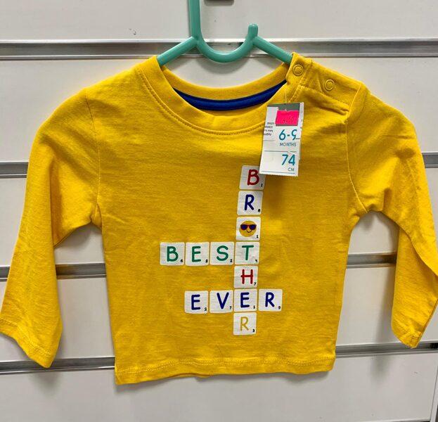 Garroku krekls/6-9 mēn./74 cm/Dzeltens ar krustvārdu mīklu.