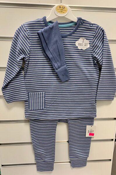 Džemperis+bikses/9-12 mēn./Gaiši zils ar baltām svītrām.