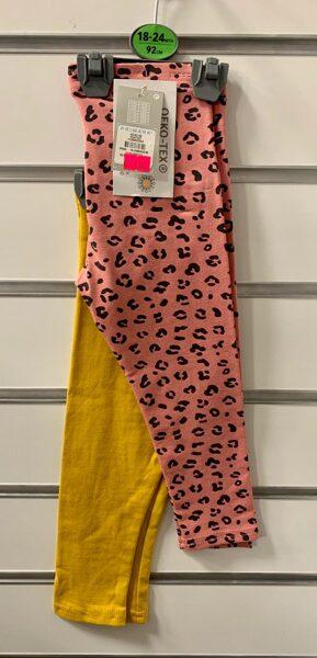 Legingi 2gb/18-24 mēn./92cm/Dzelteni+Rozā ar melniem plankumiem.