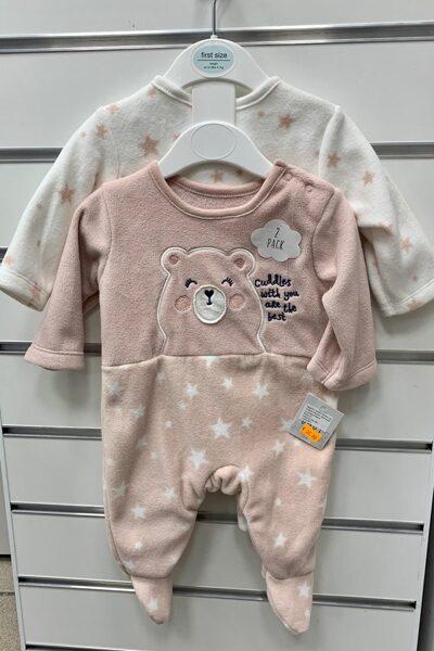Pidžamas (slipiji) 2gb/līdz 4,1 kg/Maigi rozā ar lāci+balts ar zvaigznītēm.