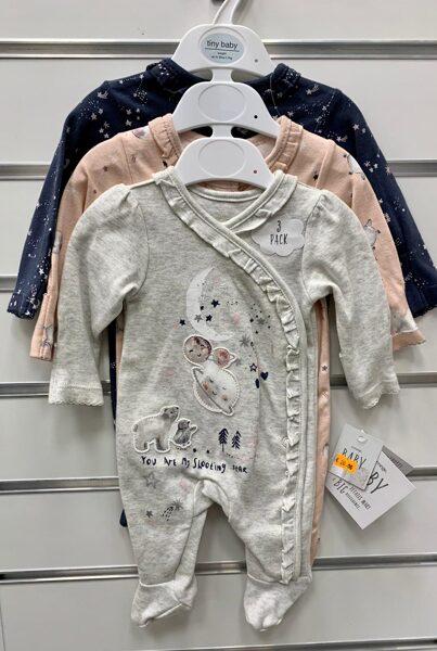 Pidžamas(slipiji) 3gb/līdz 2,7 kg/Pelēks ar mēnesi un zvaigznēm+Laša krāsā+Tumši zils ar zvaigznītēm.