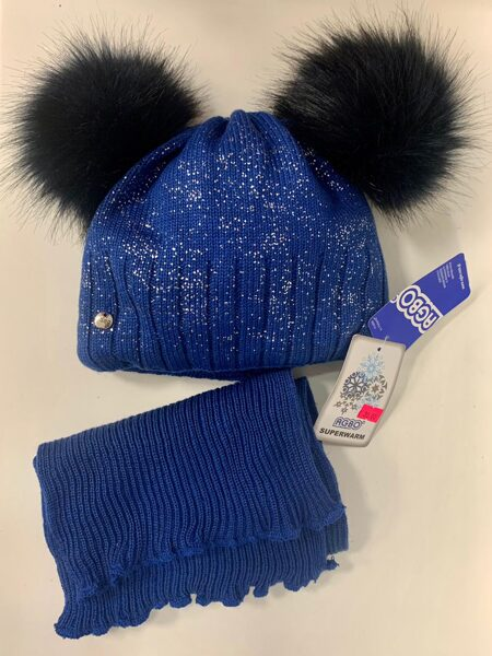 Cepure, šalle/Tumši zila ar melniem, diviem bumbuļiem.