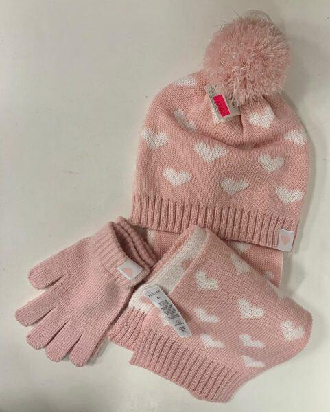 Cepure, šalle, cimdi/Rozā ar baltām sirsniņām.