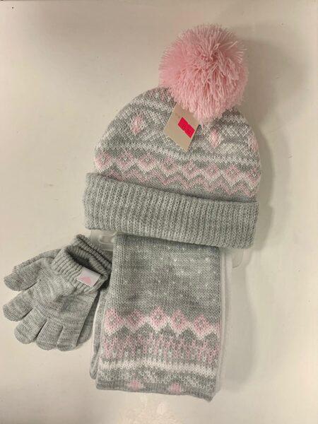 Cepure, šalle, cimdi/Pelēka ar rozā elementiem.
