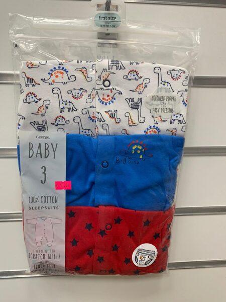 Pidžama(slipiji) 3gb ar pēdiņām ciet/First Size/Sarkans ar zvaigznītēm+Zils+Balts ar dinozauriem.