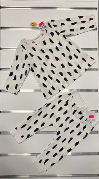 Garroku krekliņš+Bikses/3-6 mēn./68cm/Balts ar melnām, īsām svītrām.