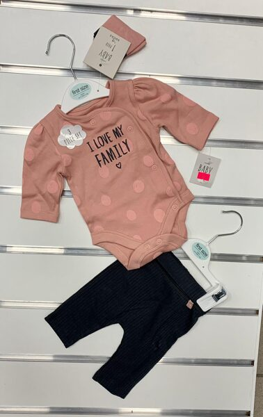 Komplekts jaundzimušajiem/First size/Garroku body+bikses/I Love Family.