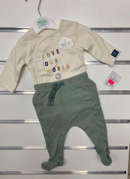 Komplekts jaundzimušajiem/First size/Bodijs+Bikses ar pēdiņām ciet/Love Our World./Bēšs ar zaļu.