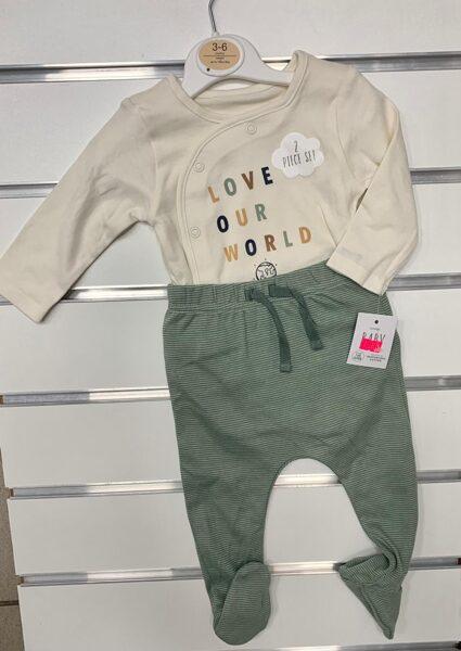 Komplekts 3-6 mēn./Garroku body+Bikses ar pēdiņām ciet/Love Our Wold/Bēša ar zaļu.
