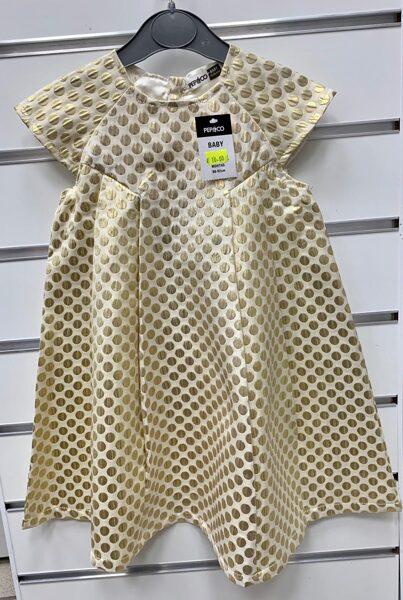 Svētku kleitiņa ar īsām rokām 18-24 mēn./86-92cm/Bēša ar zeltītām pumpām/Pep&Co