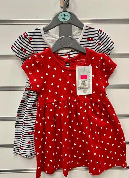 Īsroku kleitiņas 2gb/6-9 mēn./74cm/Sarkana ar baltām sirsniņām+Svītraina ar ķiršiem.