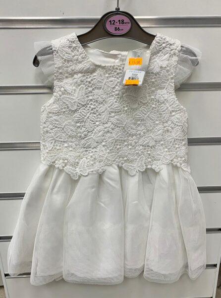 Svētku kleitiņa ar īsām rociņām 12-18 mēn/86cm/Balta ar baltiem taureņiem augšdaļā