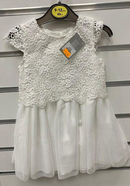 Svinīga kleitiņa ar īsām rokām 9-12 mēn./80cm/Balta ar puķainu augšdaļu