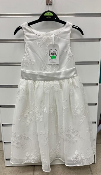 Svinīga kleita bez rokām 4-5 gadi/104-110cm/Balta ar ziedu rakstu