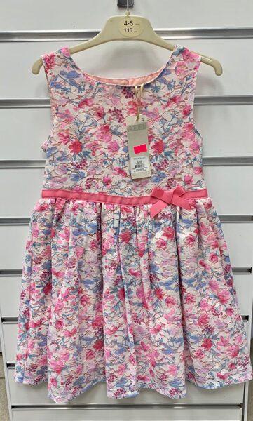 Vasaras kleita bez rokām 4-5 gadi/110cm/Rozīgi puķaina