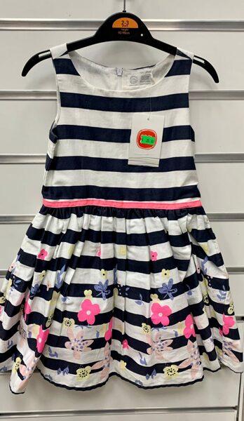 Vasaras kleita bez rokām 2-3 gadi/92-98cm/Balta ar melnām svītrām un puķainu kleitas apakšdaļu.