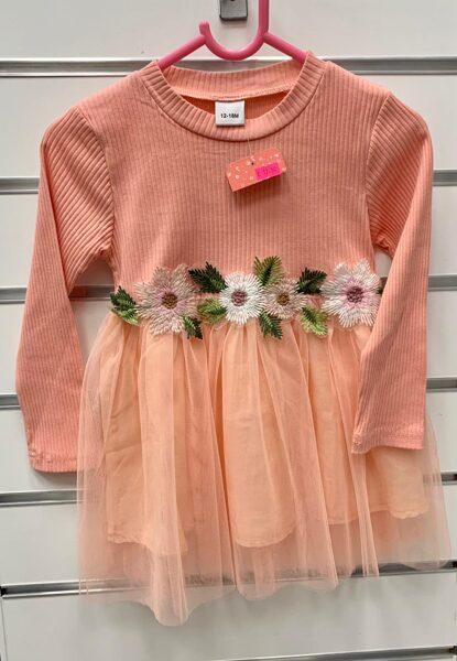 Garroku kleita 12-18 mēn./Laša krāsā ar tilla apakšu un puķainu jostas vietu.