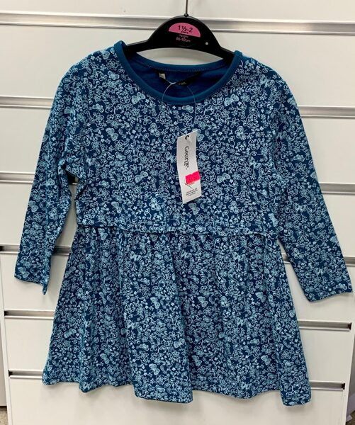Garroku kleita 18-24 mēn./86-92cm/Tumši zila ar gaiši ziliem ziediem/George