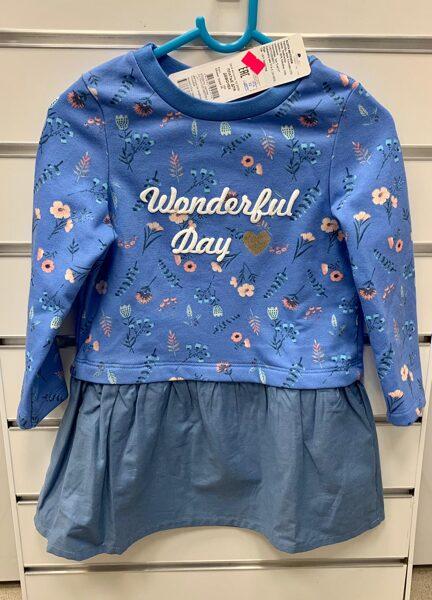 Garroku kleita 104cm/Gaiši zila ar ziediem un uzrakstu Wonderful Day/Baltkrievija