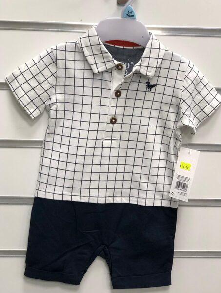 Vasaras komplekts 6-9 mēn./74cm/Rūtains krekls+tumšas bikses.
