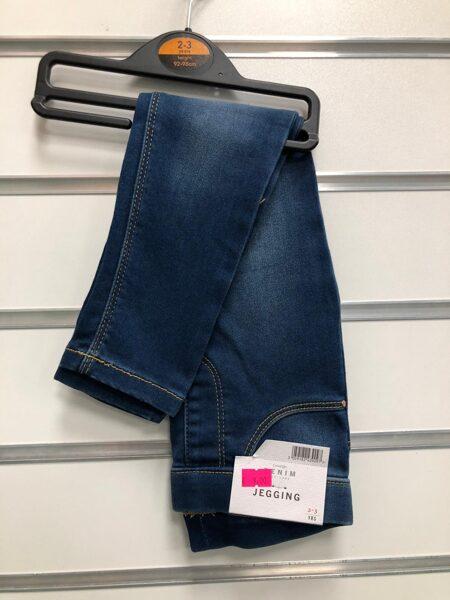 Džinsa bikses meitenēm 2-3 gadi/92-98cm/Tumši zilas ar balinājuma efektu.