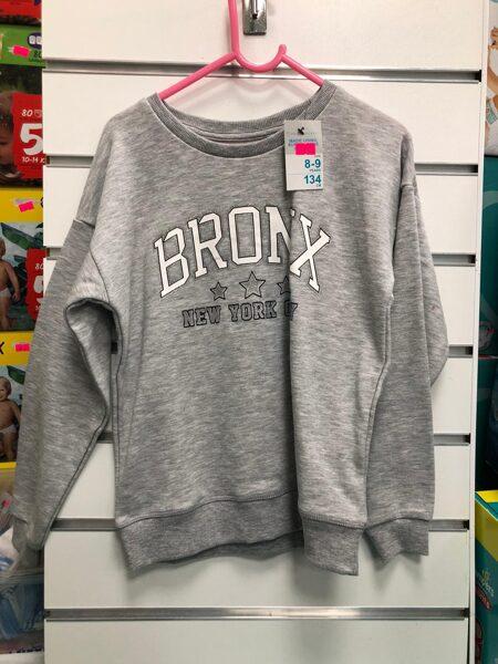 Džemperis 8-9 gadi/134cm/Pelēks ar uzrakstu Bronx-Newyork