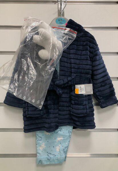 Siltais halātiņš+Pidžama/6-9 mēn./74cm/Tumši zils ar gaiši zilu pidžamu+dāvanā Polārlācītis.