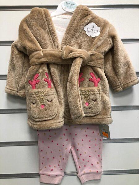 Siltais halātiņš+Pidžama/First Size/Brūns ar brieža motīviem.