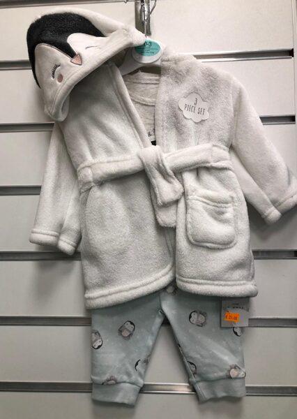 Silatis halāts+Pidžama/0-3 mēn./Balts ar Pingvīna motīviem.