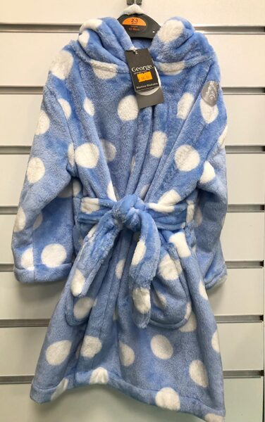 Siltais halātiņš/2-3 gadi/92-98cm/Gaiši zils ar baltām pumpām/George