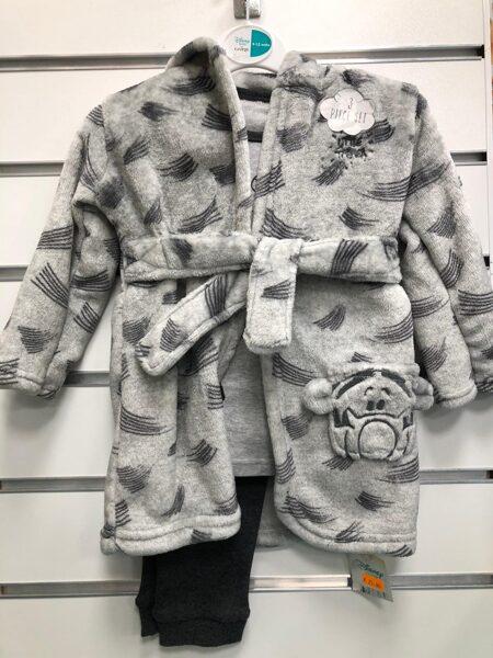 Siltais halātiņs+pidžama/9-12 mēn./Pelēks ar Vinnija Pūka tīģera tēlu.