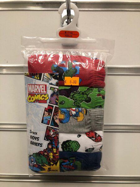 Apakšbikses zēniem 5gb/6-7 gadi/122cm/Marvel Comics tematika.