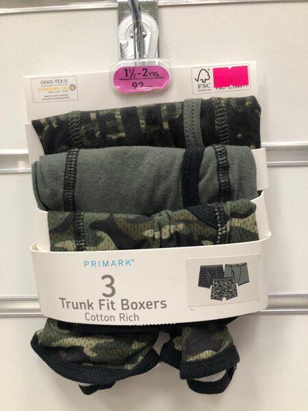 Apakšbikses zēniem 3gb/Boxer/18-24 mēn./92cm/Armijas krāsās.