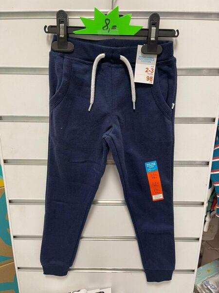 Sporta bikses 2-3 gadi/98cm/Tumši zilas ar baltu, savelkamu striķi.