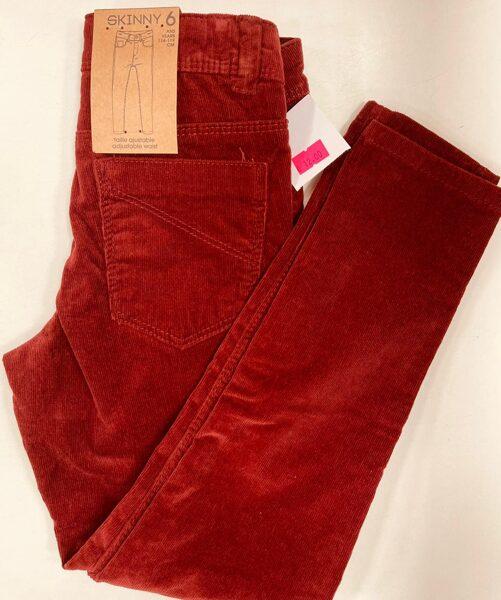 Velveta bikses Skinny 6 gadi/114-119cm/Brūnīgi sarkanīgas.