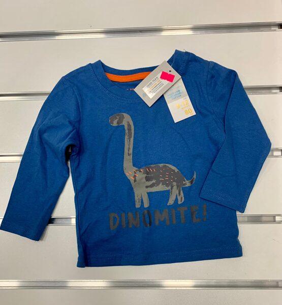 Garroku krekliņš 9-12 mēn./80cm/Zils ar dinozauru/Dinomite.