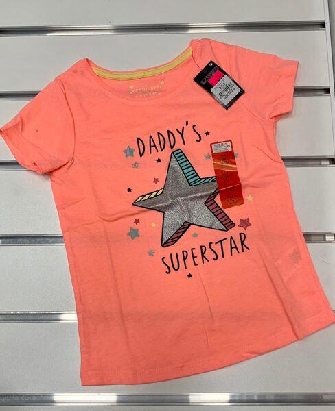 Īsroku krekliņš 6-7 gadi/122cm/Oranžs ar pelēku zvaigzni/Daddys Superstar.