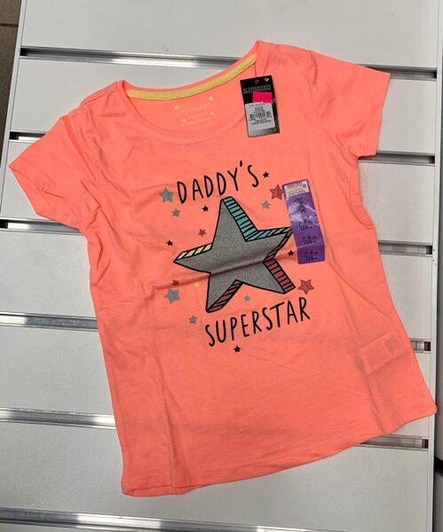 Īsroku krekliņš 7-8 gadi/128cm/Oranžs ar pelēku zvaigzni/Daddy Superstar
