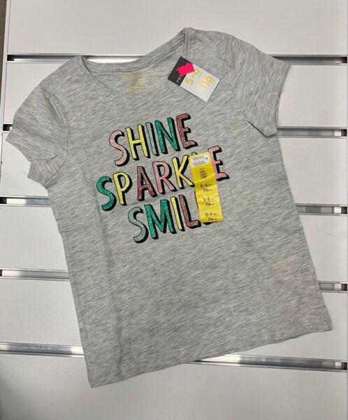 Īsroku krekliņš 5-6 gadi/116cm/Pelēks ar uzrakstu Shine Sparkle Smile