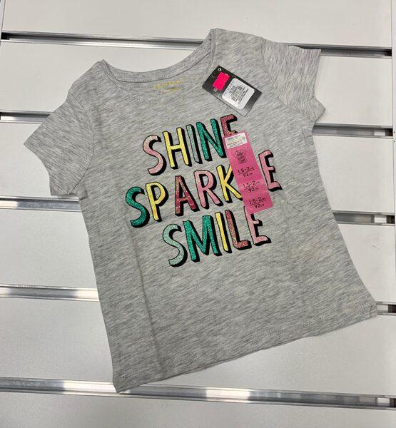 Īsroku krekliņš 18-24 mēn./92cm/Pelēks ar uzrakstu Shine Sparkle Smile