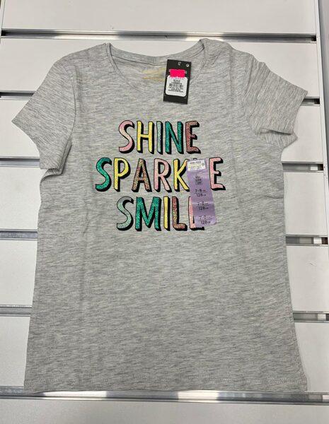 Īsroku krekliņš 7-8 gadi/128cm/Pelēks ar uzrakstu Shine Sparkle Smile