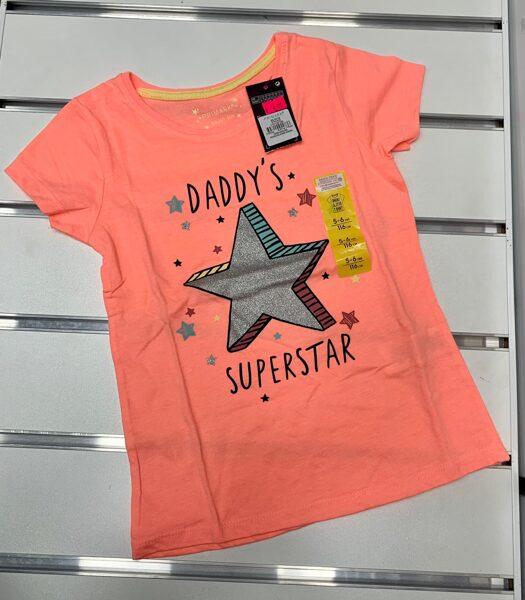 Īsroku krekliņš 5-6 gadi/116cm/Oranžš ar pelēku zvaigzni/Daddys Superstar.