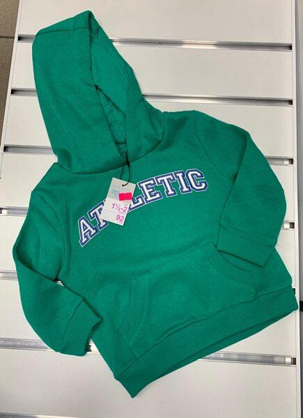 Džemperis ar kapuci 18-24 mēn./92cm/Zaļš ar uzrakstu Atletic