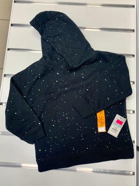 Džemperis ar kapuci 2-3 gadi/98cm/Tumšs ar baltiem plankumiem.