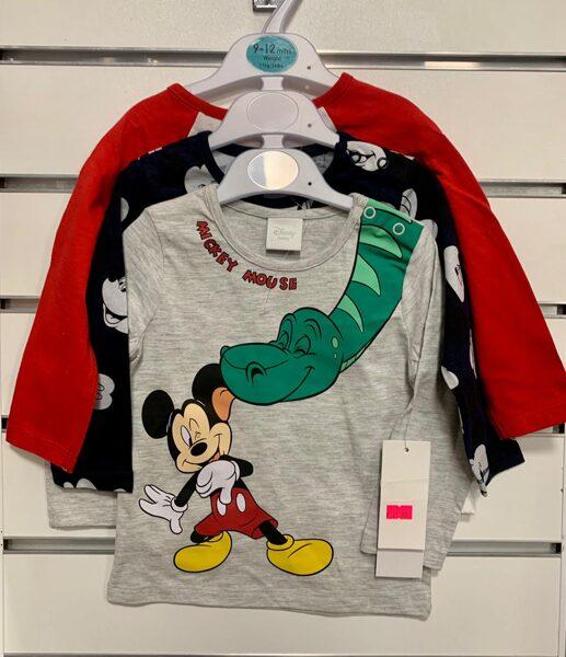 Garroku krekliņi 3gb/9-12 mēn./80cm/Sarkans, melns, pelēks ar Mickey mouse