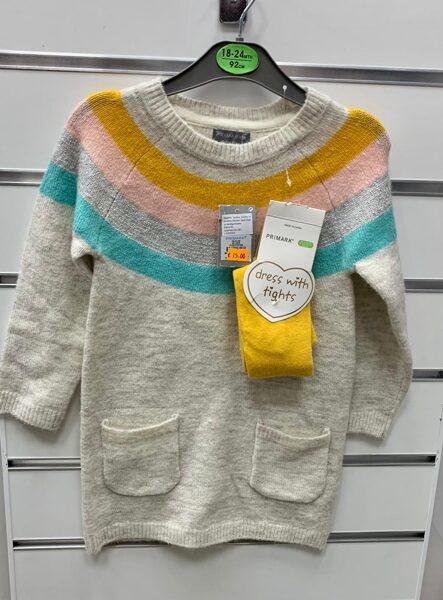 Džemperkleita 18-24 mēn./92cm/Pelēcīga ar krāsainām svītrām kleitas augšdaļā+kabatas.