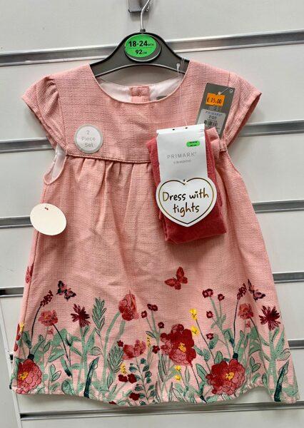 Vasaras kleitiņa 18-24 mēn./92cm/Laša krāsā ar ziediem kleitas apakšdaļā